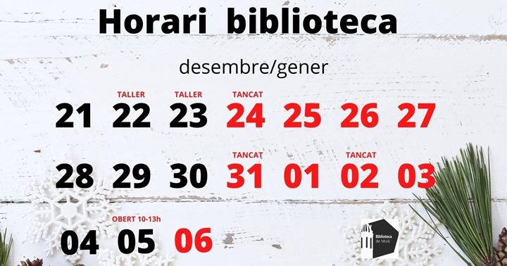 Horari de Nadal 2020-2021